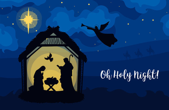 Greeting card of Traditional Christian Christmas Nativity Scene of baby Jesus in the manger with Mary and Joseph in silhouette. Holy Night