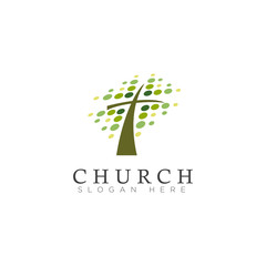 logo church, with leaf spot and cross vector