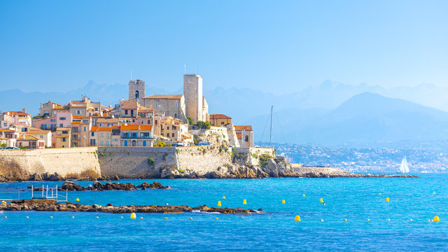 Historic center of Antibes, French Riviera, Provence, France.