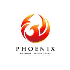 creative simple phoenix bird circle logo concept, best phoenix bird logo design