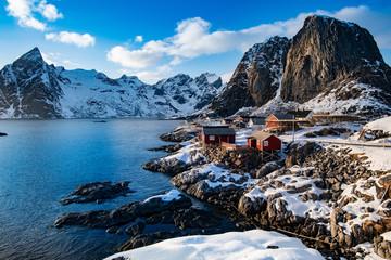Lofoten fishing huts in winter