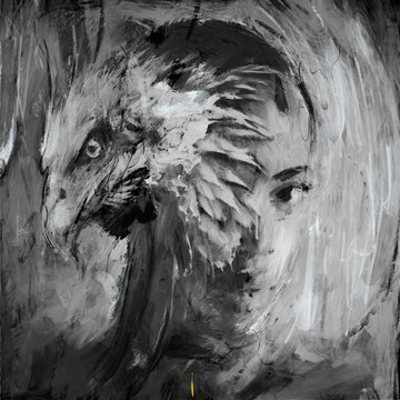Black and White portrait with eagle and female