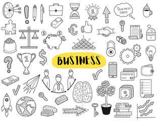 Big collection of business doodles elements. Hand sketched vector elements for landing page websites, banners, presentations, backgrounds, posters, blogs and social networks. Vector illustration.