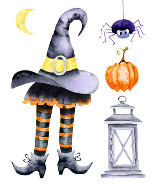 Witch in hat. Halloween watercolor illustration for design card, invitation on party of halloween.