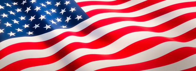 Waving flag of United States - Flag of America - Banner Format
