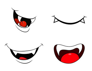 vampire mouth fang smile set  isolated on white background