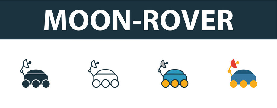 Moon-Rover icon set. Four simple symbols in diferent styles from space icons collection. Creative moon-rover icons filled, outline, colored and flat symbols