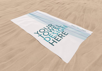 Towel on Sand Mockup
