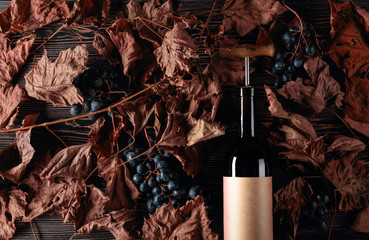 Bottle of red wine with corkscrew. On a table dried vine leaves and blue grapes.