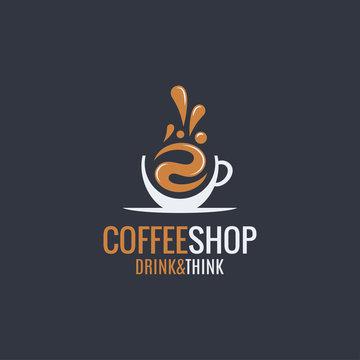 coffee hot cup logo on dark background