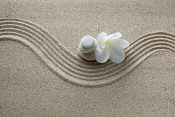 Acrylic Prints Stones in Sand Spa concept. Flower and stones on sand