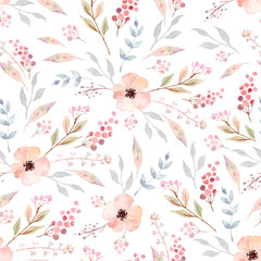 Watercolor seamless pattern with flowers. Floral background design. - 292226850