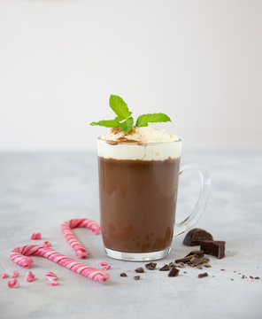 Mint hot chocolate in glass cup with whipped cream and mint leaves on light background
