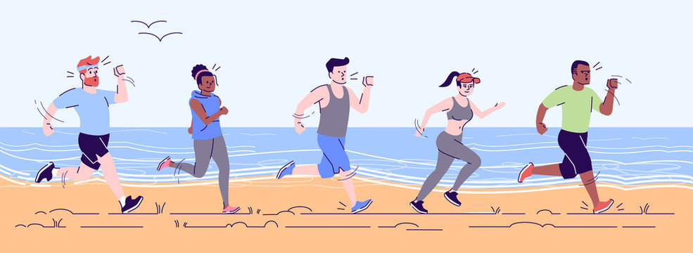 Runners train flat vector illustration. Preparation for footrace on beach. Sprinters on workout. Sport activity. Athletics. Healthy lifestyle. Group of people jogging along sea cartoon characters