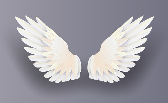 3D white realistic layered.Creative paper cut and craft style.Minimal angel wings on isolate background.Happy Valentines day decoration for greeting card.Collection angle flying vector.illustration.
