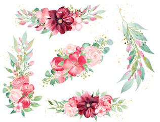 Blooming flora hand drawn watercolor raster illustrations set