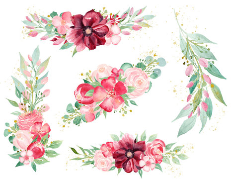 Blooming flora hand drawn watercolor raster illustrations set