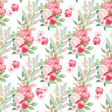 Flourishing spring flowers bouquet seamless watercolor raster pattern