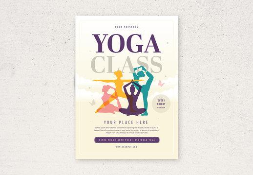 Yoga Flyer Layout with Illustrative Elements