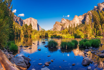 Valley view in Yosemite National Park, California, USA, captured with Fisheye lens