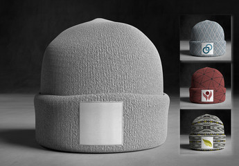 Knit Beanie with Label Mockup