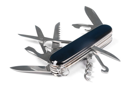 Black swiss army knife isolated on a white