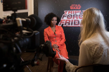 Naomi Ackie, who plays Jannah in Star Wars: The Rise of Skywalker speaks during an interview at the announcement of new Star Wars products at Pinewood Studios, Iver Heath
