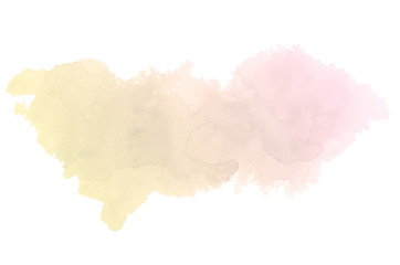Abstract watercolor background image with a liquid splatter of aquarelle paint, isolated on white. Pink and yellow tones
