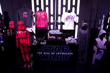 Merchandise sits on display at the announcement of new Star Wars products at Pinewood Studios, Iver Heath