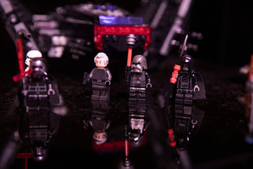 Star Wars lego toys sit on display at the announcement of new Star Wars products at Pinewood Studios, Iver Heath