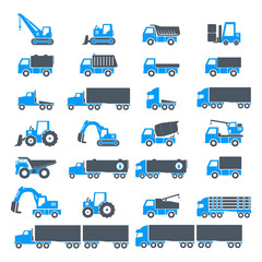 Heavy duty machines icon set