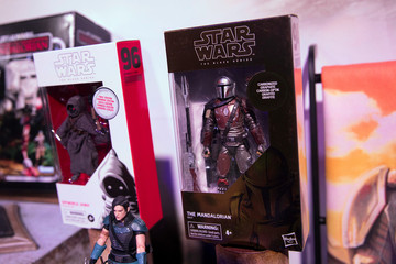 Toys for the new Star Wars: Mandalorian television series  sit on display at the announcement of new Star Wars products at Pinewood Studios, Iver Heath