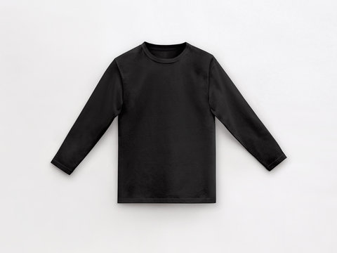 black long sleeve t-shirt for man with round collar