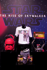 Merchandise from Star Wars: The Rise of Skywalker sit on display at the announcement of new Star Wars products at Pinewood Studios, Iver Heath