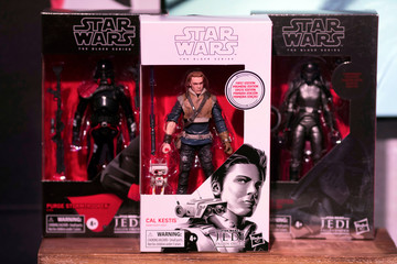 Toys for the new Star Wars: Fallen Order video game sit on display at the announcement of new Star Wars products at Pinewood Studios, Iver Heath