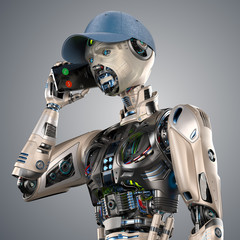 Futuristic android man or very detailed robot talks with somebody using his mobile phone like a human. Upper body isolated on color background. 3d render