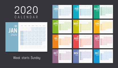 Colorful 2020 horizontal monthly calendar