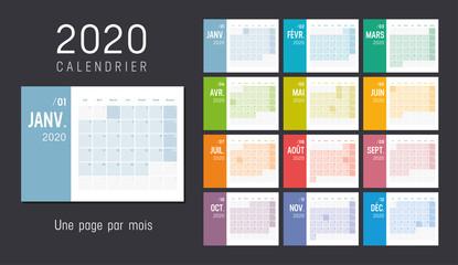 Calendrier Agenda 2020 couleur. Une page par mois. Fototapete
