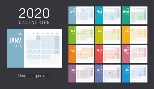 Calendrier Agenda 2020 couleur. Une page par mois.