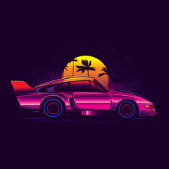 Original vector illustration in neon retro 80's style. Sports pink car on the background of the starry sky with sunset and palm trees
