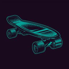 Original neon green vector illustration vintage skateboard in retro style