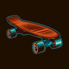 Vintage skateboard. Original vector illustration. T-shirt design