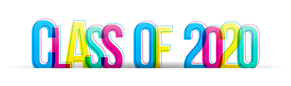 Class of 2020 colorful vector text isolated on a white background. Typography banner card.