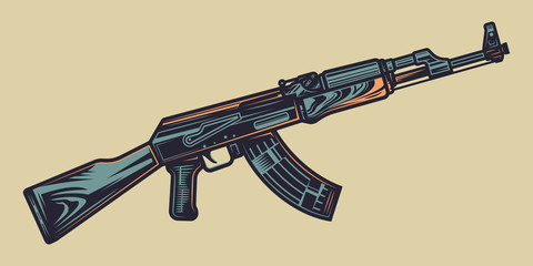 Original color vector illustration of automatic weapons in vintage style