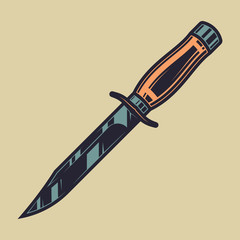 Original color vector illustration of a military knife in vintage style.