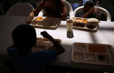 Migrants children, who returned to Mexico with their parents from the U.S. under the Migrant Protection Protocols , eat at a migrant shelter run by the federal government in Ciudad Juarez