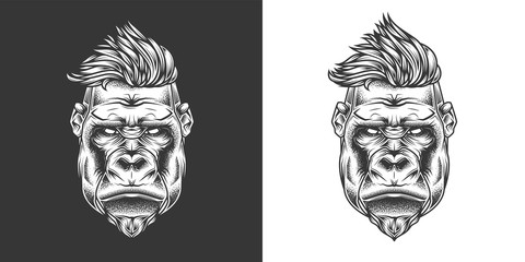 Original monochrome vector illustration. Hipster gorilla with stylish hairstyle . T-shirt or sticker design