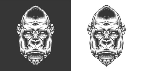 Original monochrome vector illustration. Evil gorilla head in retro style. T-shirt or sticker design