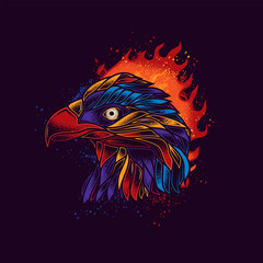 Original neon vector illustration. Bald eagle in retro style, against a bright flame of fire. T-shirt or sticker design
