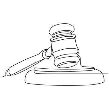 minimalist design of judge hammer continuous one line drawing vector object illustration law theme design